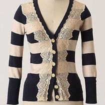 Anthropologie Field Game Charlotte Tarantola Cardigan Xs Blue and Cream Photo