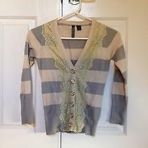 Anthropologie Field Game Striped Cardigan by Charlotte Tarantola - Grey Size Xs Photo