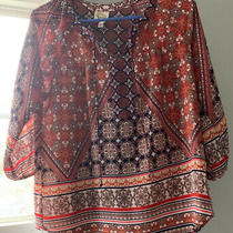 Anthropologie Fig & Flower Boho Blouse Size Pm  Peasant Top Orange Blue Red Photo