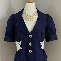 Anthropologie Floral Embroidered Navy Cropped Blazer Size 6  Photo