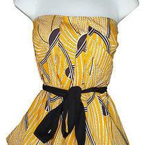Anthropologie Floreat 14 Creased Swirls Corset Top Yellow Black Strapless Photo