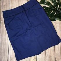 Anthropologie Floreat Blue Black Piping Bustle Ruffle Back Pencil Skirt Sz 2 Photo