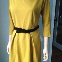 Anthropologie Fluted Ponte Dress - Girls From Savoy - Size Medium Yellow Dress Photo