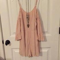 Anthropologie Free People Blush Gauze Cold Shoulder Dress Romper S New Photo