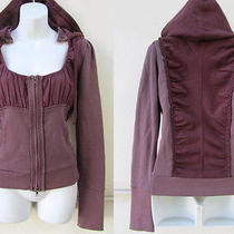 Anthropologie Free People Burgundy Boho Corset Puff Slv Hoodie Sweatshirt Top S Photo
