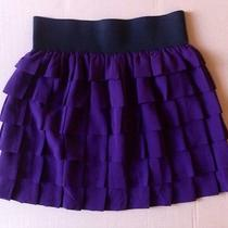 Anthropologie Fun Purple Floreat Ushered Wave Crepe Tiered Skirt - Small Photo