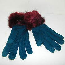 Anthropologie Gloves Teal Blue Knit Faux Fur Wrist Super Cute Hard to Find New Photo