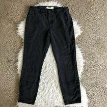 Anthropologie Gray Straight Leg Pants Button Legs Size 30 Inseam 27 Inches Ankle Photo