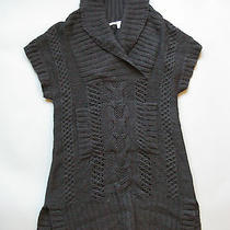 Anthropologie Guinevere Sweater Tunic Dress Size Small Black Cable Knit Photo