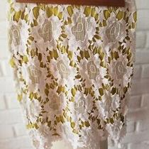 Anthropologie Harlyn Lime Green Ivory Floral Lace Embellished Skirt Size S Photo