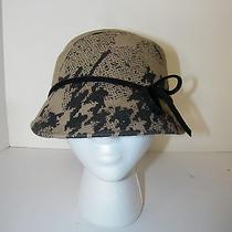 Anthropologie Hat Bucket Wool Natural Black Splat Italy Design Brand New Hot Photo