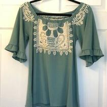 Anthropologie Hazel Light Teal Embroidered Ruffle Sleeve Top Photo