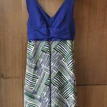 Anthropologie Hd in Paris Ardmore Dress Green Blue Abstract Zip Tank 148 Size 4 Photo