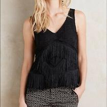 Anthropologie Hd in Paris Black Fringe Beaded Tank Top Size 2 Photo