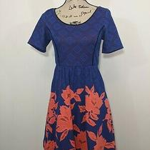 Anthropologie Hd in Paris Blushed Blooms Dress Coral Navy Fit Flare Xsp Petite Photo