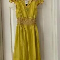 Anthropologie Hd in Paris Incandescent Traces Yellow Dress Size 0 Nwt Photo
