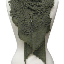 Anthropologie Heather Crochet Olive Emerald Green Scarf Vintage Hollywood Wrap  Photo