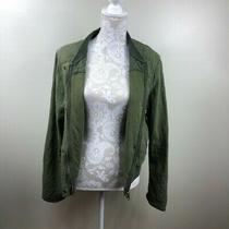 Anthropologie Hei Hei Green Zip Up Bomber Jacket Large Photo