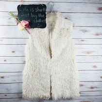 Anthropologie Hei Hei Vest Size S Faux Fur Zip Up Sleeveless Ivory Photo