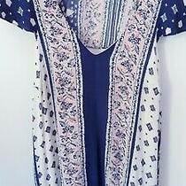 Anthropologie High-Low Midi Swing Dress Pink & Blue Hankerchief Print Size Xs Photo