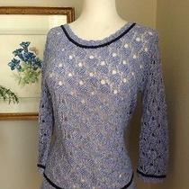 Anthropologie Hinge Blue Cotton Sweater Top Size M Photo