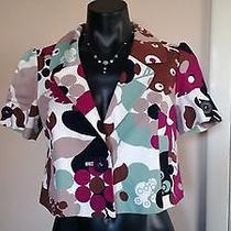 Anthropologie Hinge Colorful Floral Bolero Short Spring Womens Blazer Jacket Xs Photo