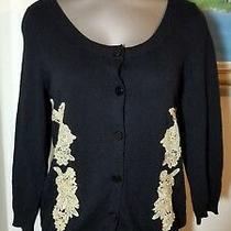 Anthropologie Hwr Black Gold Embellish Cardigan Sweater M Medium Cashmere Blend  Photo
