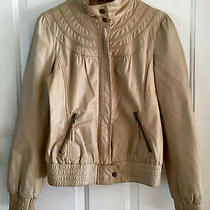 Anthropologie Idra Cafe Racer Tan Gold Leather Motorcycle Jacket Free People S Photo