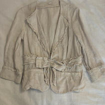 Anthropologie Idra Womens Cream Linen Blazer Size 8 Euc Photo
