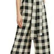 Anthropologie if by Sea Gingham Jumpsuit Sz Xs Black White Tie Sash Guc Photo