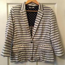 Anthropologie Isabella Sinclair Nautical Striped Cotton Blazer Jacket Size Med Photo