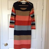 Anthropologie Isabella Sinclair Stripe Wool Blend Knit Long Sleeve Midi Dress L Photo