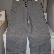 Anthropologie Ivy Jane Navy & White Pin Striped Wide Leg Crop Pants Size 4 Photo