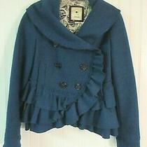Anthropologie Jacket by Elevenses Teal Color Wool Blend Size 4 Photo