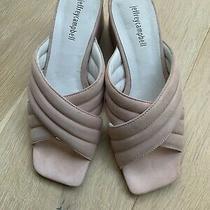 Anthropologie Jeffrey Campbell 8.5 Berdine Pink Crisscross Suede Mule Heel Shoes Photo