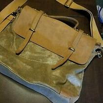 Anthropologie Jesslyn Blake Crossbody Messenger Book Bag Metallic Canvas Leather Photo