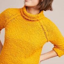 Anthropologie Juliette Turtleneck Sweater  Size L 120 Moth Mustard Yellow  Nwt Photo