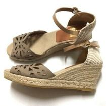 Anthropologie Kanna Taupe Womens 10 Woven Laser Cut Wedge Espadrilles Boho Wedge Photo