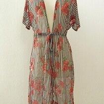 Anthropologie Kimono Top New Size Medium Stripe Floral Rose Mesh Boho Sheer Photo