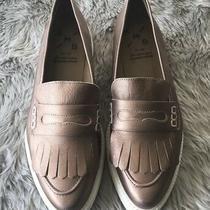 Anthropologie Kmb Rose Gold Point Platform Slip on Fringe Loafer Sneakers 40 Photo