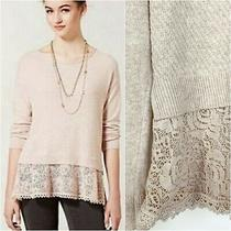 Anthropologie Knitted & Knotted Bloom Lace Hem Sweater Pink Long Sleeve Size Xs Photo