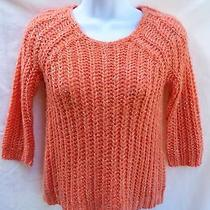 Anthropologie Knitted & Knotted Coral Orange Sequins Open Knit Sweater Xxsp Photo