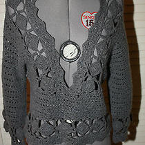 Anthropologie Knitted & Knotted Gray Open Knit Crochet Sweater Small Photo