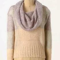 Anthropologie Knitted & Knotted Sheer Mohair Knit Melting Block Cowl Sweater M Photo