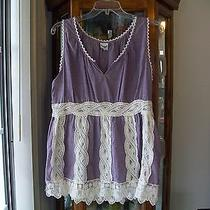 Anthropologie Large Sleeveless Shirt Light Purple Lace Blue Bird Brand Photo