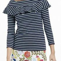 Anthropologie Leifnotes Striped Valence Boatneck Top Blue Cotton Xs Photo