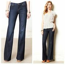 Anthropologie Level 99 Newport Wide Leg Jeans Mid Rise Dark Wash Stretch Size 26 Photo