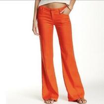 Anthropologie Level 99 Newport Wide Leg Linen Pants Size 27 Orange Red Coral Photo