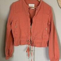 Anthropologie Lightweight Joyce Textured Moto Jacket Orange Size Med Rt 148 Photo
