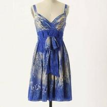Anthropologie Lil Blue Caballo Falls Dress 100% Silk Size 0 Xs No Sash Photo